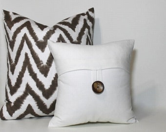 12x12 Petite Square Button pillow cover,  cream white pillow cover, coconut button, decorative throw pillow, home decor accent