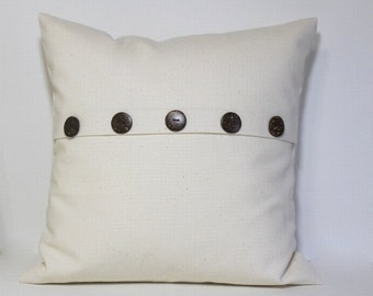 Petite Square Button pillow cover. Natural ivory pillow cover, pleat accent coconut buttons, decorative throw pillow, home decor accent
