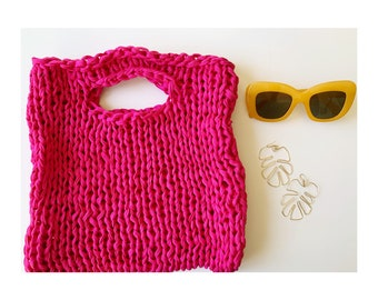 Cotton hand knit market bag in Magenta - bold pink market bag - Huxen and Co