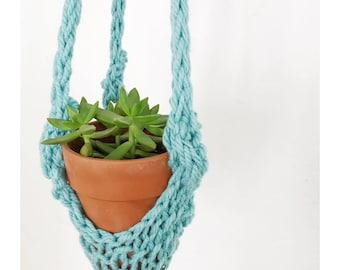 Handknit Hanging Planter in Light Aqua Turquoise , Indoor Planter, Houseplanter, Knit Hanging Planter, Knitted Planter,Plant Holder