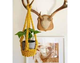 Huxen & Co. Handknit Hanging Planter in Sunflower Yellow, Indoor Planter, Boho Home - Hanging Planter Indoor - Plant Lady Decor