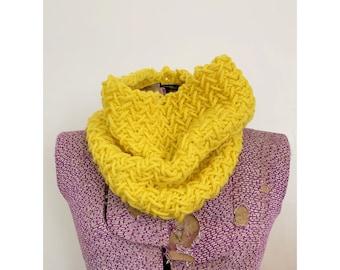 Sunshine Yellow Wool Knit Cowl - Herringbone Infinity Scarf