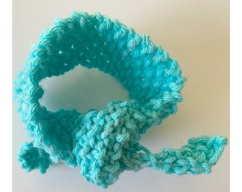 Huxen and Co Top Knot Tie - aqua turquoise handknit ribbon tie