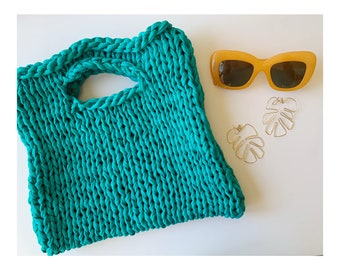 Cotton hand knit market bag in turquoise - bold turquoise market bag - Huxen and Co