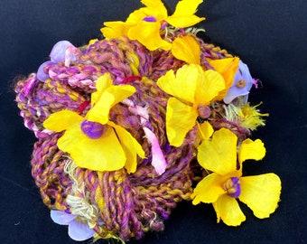 """Handspun Bulky Art Yarn- """"Sweet Nectar"""""""