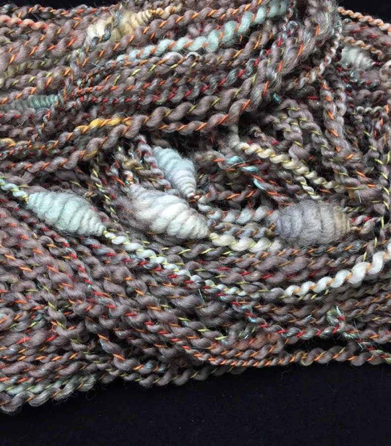 Ash Patina Handspun FeistyFenn Fibers Coiled Explosions Art Yarn