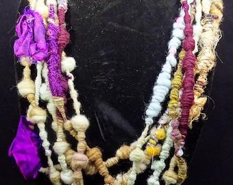 Handspun Fiber Art Necklace- Fuchsia Mint Acorns