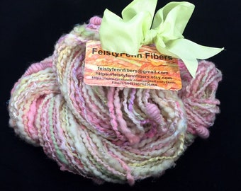 Handspun Bulky Art Yarn- Tea Roses