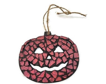 Mosaic Jack-O-Lantern Ornament, Pink Stained Glass, Pumpkin, Open Mouth Nose And Eyes, Halloween Decor, Thanksgiving, Autumn Art, Gift Tag