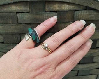 Mosaic Turquoise Stained Glass Above the Knuckle Art Ring, Spoon Jewelry, US Size 2.5, Pinky Ring, Gothic Ring, Boho, Hippie, Woman's Gift