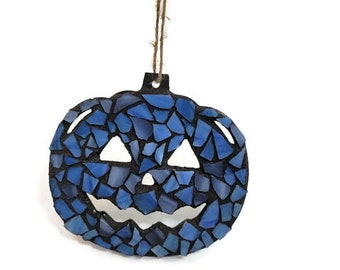 Mosaic Jack-O-Lantern Ornament, Light Blue Stained Glass, Pumpkin, Open Mouth Nose And Eyes, Halloween, Thanksgiving, Autumn Art, Gift Tag