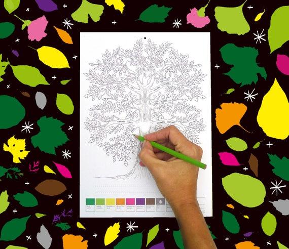 Coloring Calendar 2019 Mood Calendar 2019 Perpetual Wall Etsy