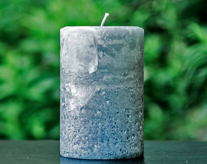 Stone Gray Rustic Large Unscented Pillar Candle - Choose Size - Handmade