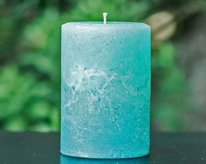 Light Teal Turquoise Rustic Unscented Pillar Candle - Choose Size - Handmade