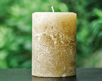 Rustic Light Brown Large Unscented Pillar Candle - Choose Size - Handmade