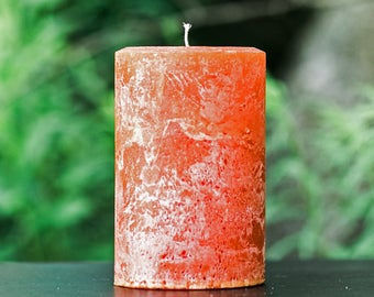 Burnt Orange Rustic Large Unscented Pillar Candle - Choose Size - Handmade