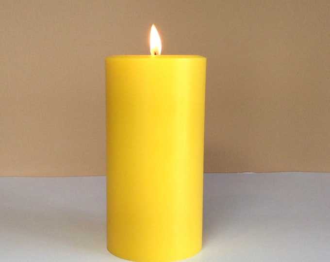 "Gold / Yellow Soy Pillar Candle Unscented - Choose 4"", 6"", 9"" Tall"