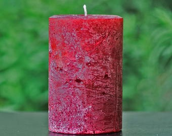 Cranberry Red Rustic Textured Unscented Block Pillar Candle - Choose Size - Handmade