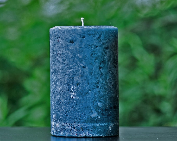 Navy Blue Rustic Unscented Pillar Candle - Choose Size - Handmade
