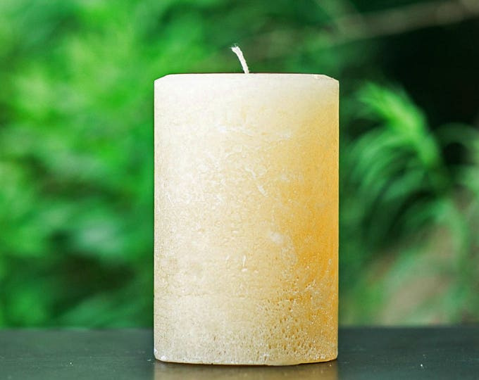 Rustic Ivory Large Unscented Pillar Candle - Choose Size - Handmade