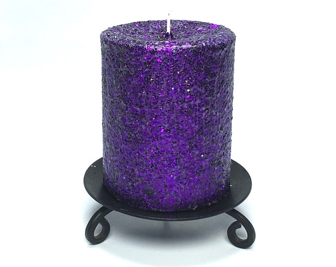 Purple Glitter Unscented Decorative Pillar Candle - Choose Size - Handmade