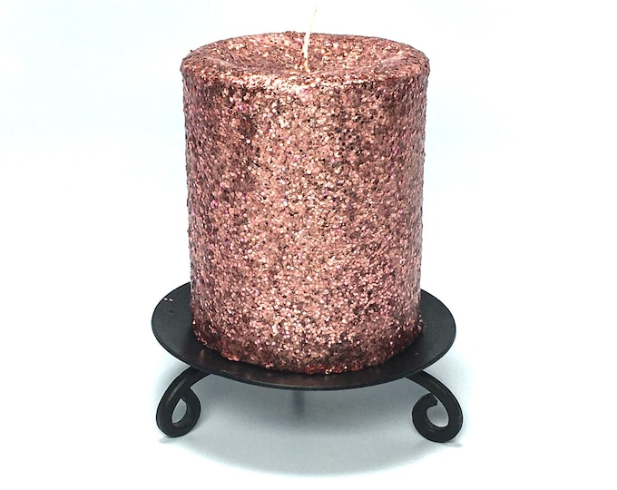 Rose Gold Glitter Unscented Decorative Pillar Candle - Choose Size - Handmade