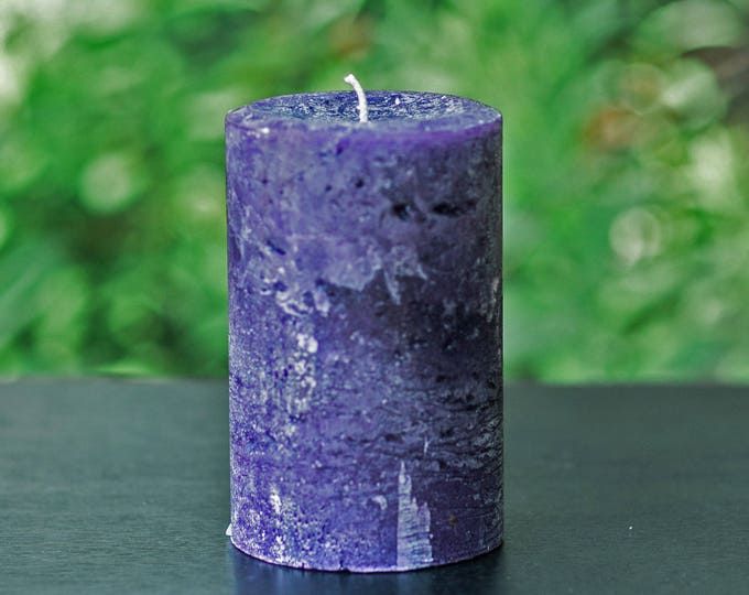 Purple Rustic Textured Unscented Pillar Candle - Choose Size - Handmade