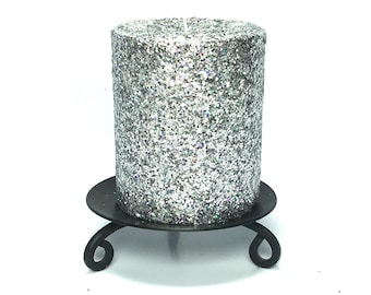 Silver Gray Glitter Unscented Decorative Pillar Candle - Choose Size - Handmade