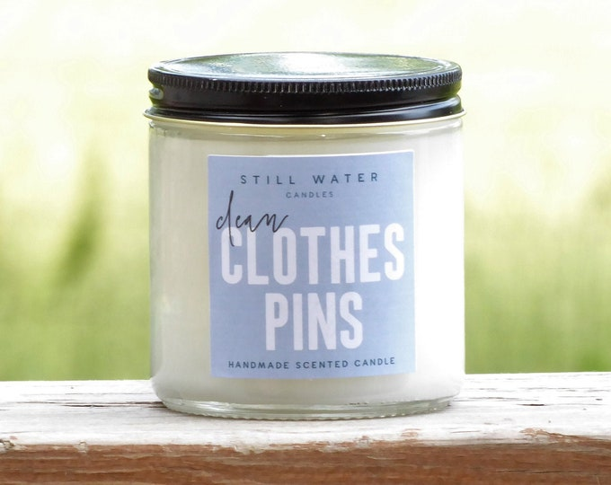 Clean Clothespins Scented White Jar Candle | 12 Ounces | Handmade