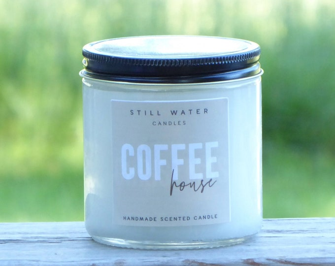 Coffee House Scented White Jar Candle | 12 Ounces | Handmade