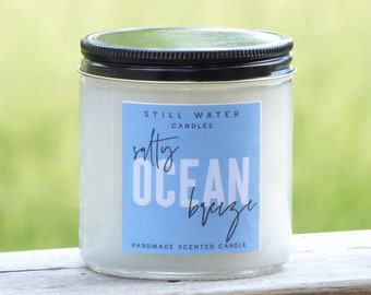 Salty Ocean Breeze Scented White Jar Candle | 12 Ounces | Handmade