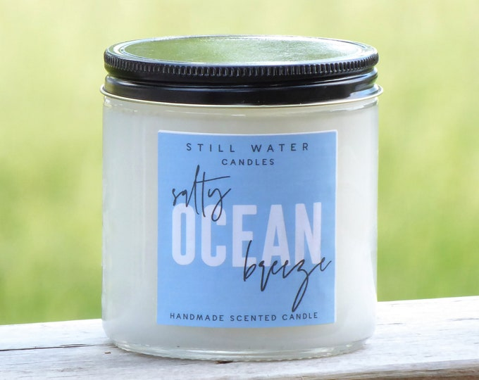 Salty Ocean Breeze Scented White Jar Candle   12 Ounces   Handmade