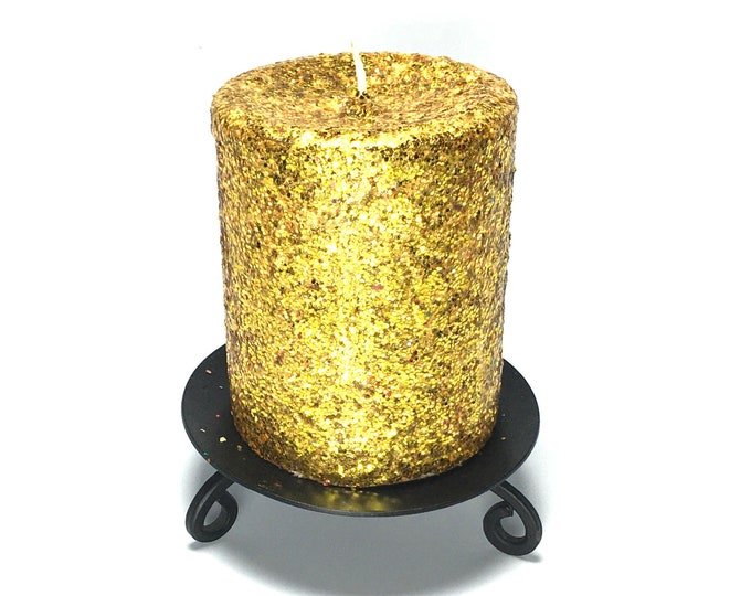 Gold Glitter Unscented Decorative Pillar Candle - Choose Size - Handmade