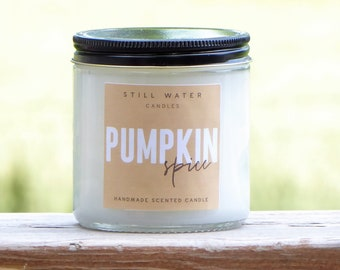 Pumpkin Spice Scented White Jar Candle   12 Ounces   Handmade