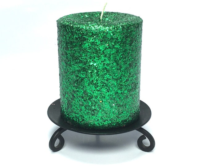 Green Glitter Unscented Decorative Pillar Candle - Choose Size - Handmade