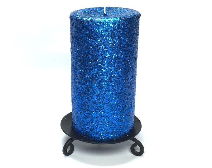 Sapphire Blue Glitter Unscented Decorative Pillar Candle - Choose Size - Handmade