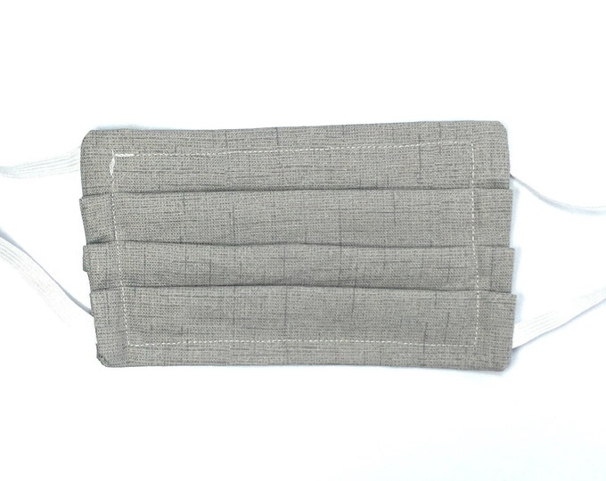 Fast Shipping - Choose Size - Double Layered Gray Face Mask - Washable Resusble Cotton with Elastic Ear Loops and Filter Pocket