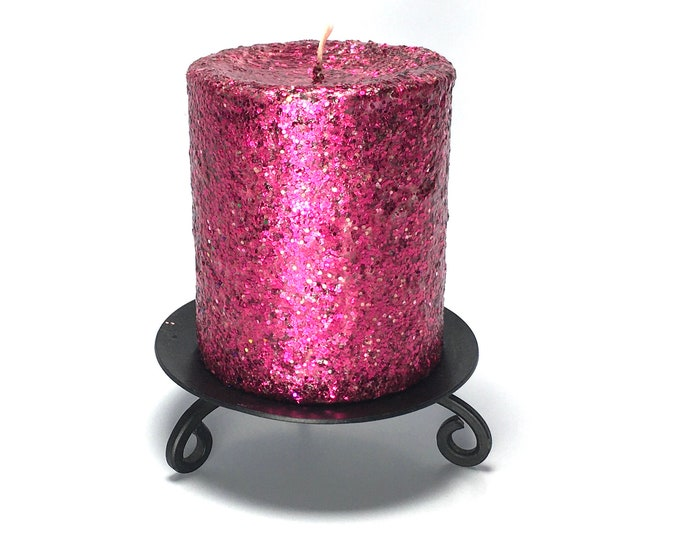 Fuschia Pink Glitter Unscented Decorative Pillar Candle - Choose Size - Handmade