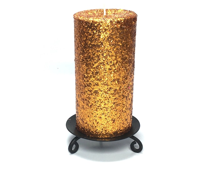 Copper Orange Glitter Unscented Decorative Pillar Candle - Choose Size - Handmade