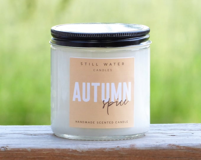 Autumn Spice Scented White Jar Candle | 12 Ounces | Handmade