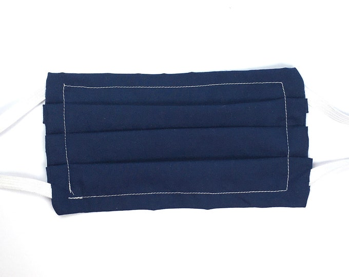 Fast Shipping - Choose Size - Double Layered Dark Navy Blue Face Mask - Washable Poly Cotton with Elastic Ear Loops and Filter Pocket