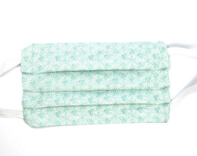 Fast Shipping - Choose Size - Double Layered Face Mask Light Green Teal - Washable Resusble Cotton with Elastic Ear Loops and Filter Pocket