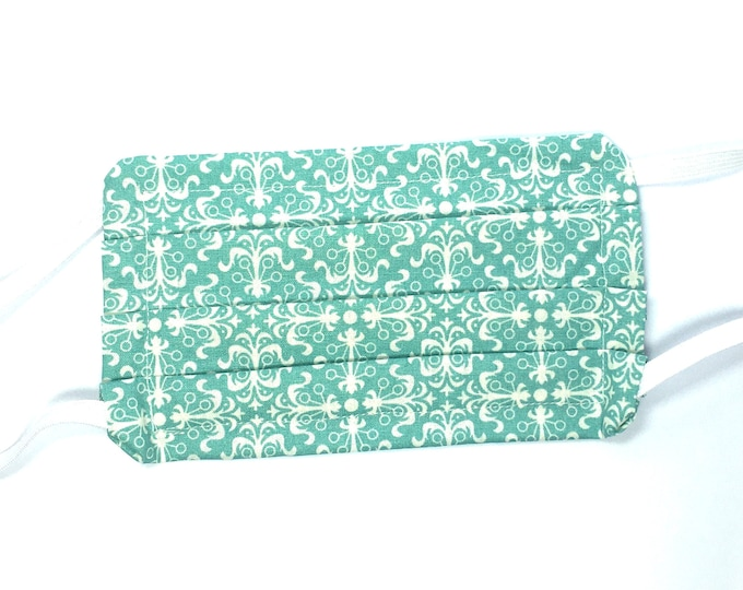 Fast Shipping - Choose Size - Double Layered Green and White Face Mask - Washable Resusble Cotton with Elastic Ear Loops and Filter Pocket