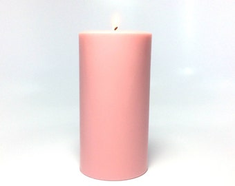 "Light Pink Soy Pillar Candle Unscented - Choose 4"", 6"", 9"" Height"