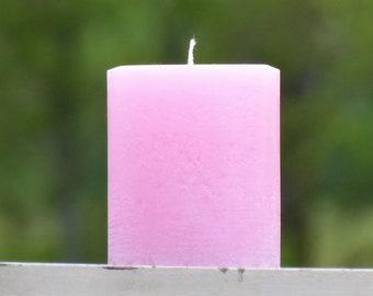 Pale Pink Large Rustic Unscented Pillar Candle  - Choose Size - Handmade