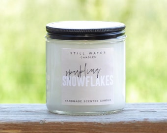 Sparkling Snowflakes Scented White Jar Candle   12 Ounces   Handmade