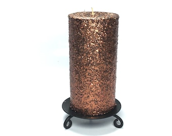 Coffee Brown Glitter Unscented Decorative Pillar Candle - Choose Size - Handmade