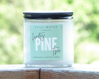Frosty Pine Tree Scented White Jar Candle   12 Ounces   Handmade