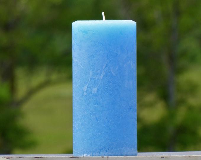 Light Blue Rustic Textured Unscented Pillar Candles - Choose Size - Handmade