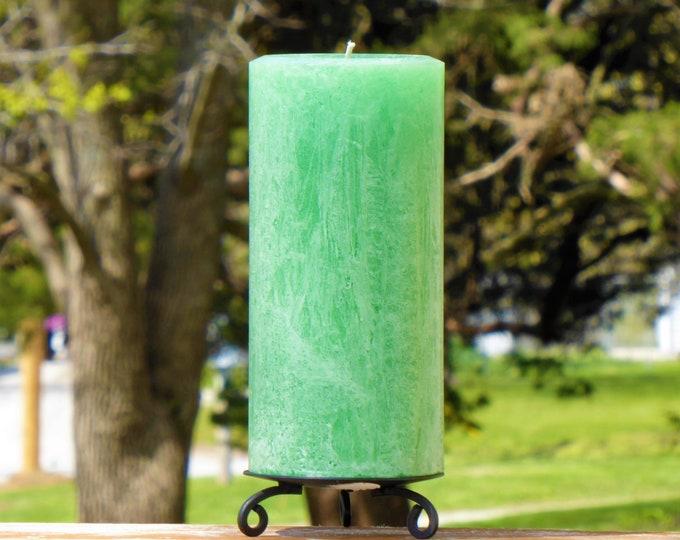 Light Green Rustic Unscented Pillar Candle - Choose Size - Handmade
